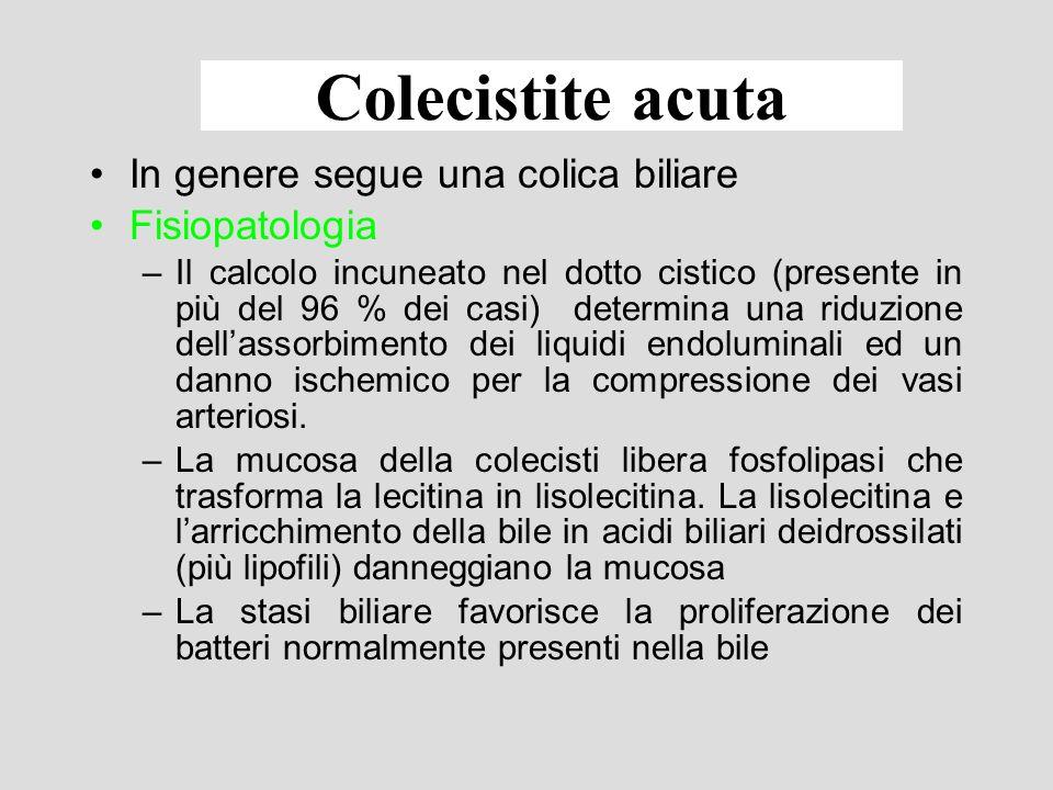 Colecistite acuta Flogosi della parete della colecisti in genere conseguente alla presenza di calcoli nel lume (oltre il 90 % dei casi).