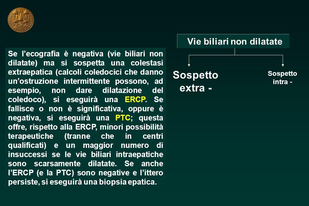 Vie biliari non dilatate Sospetto extra - Sospetto intra - Se lecografia è negativa (vie biliari non dilatate) ma si sospetta una colestasi extraepati