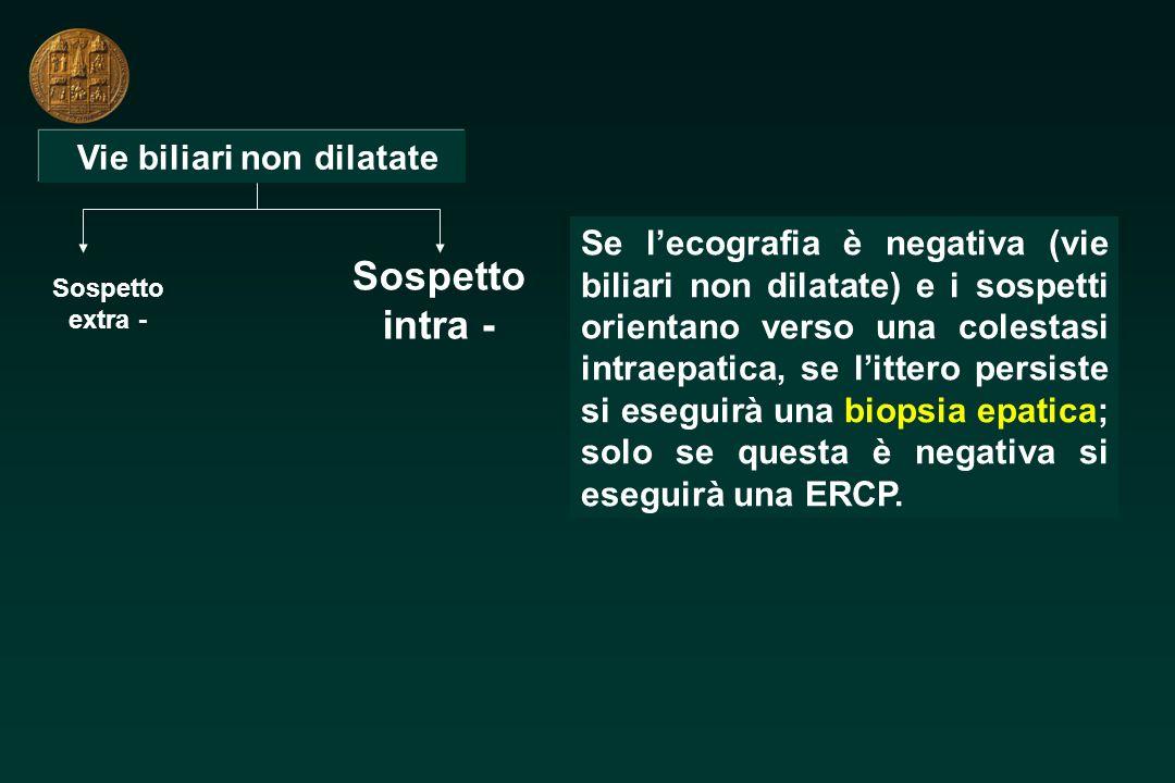Vie biliari non dilatate Sospetto extra - Sospetto intra - Se lecografia è negativa (vie biliari non dilatate) e i sospetti orientano verso una colest