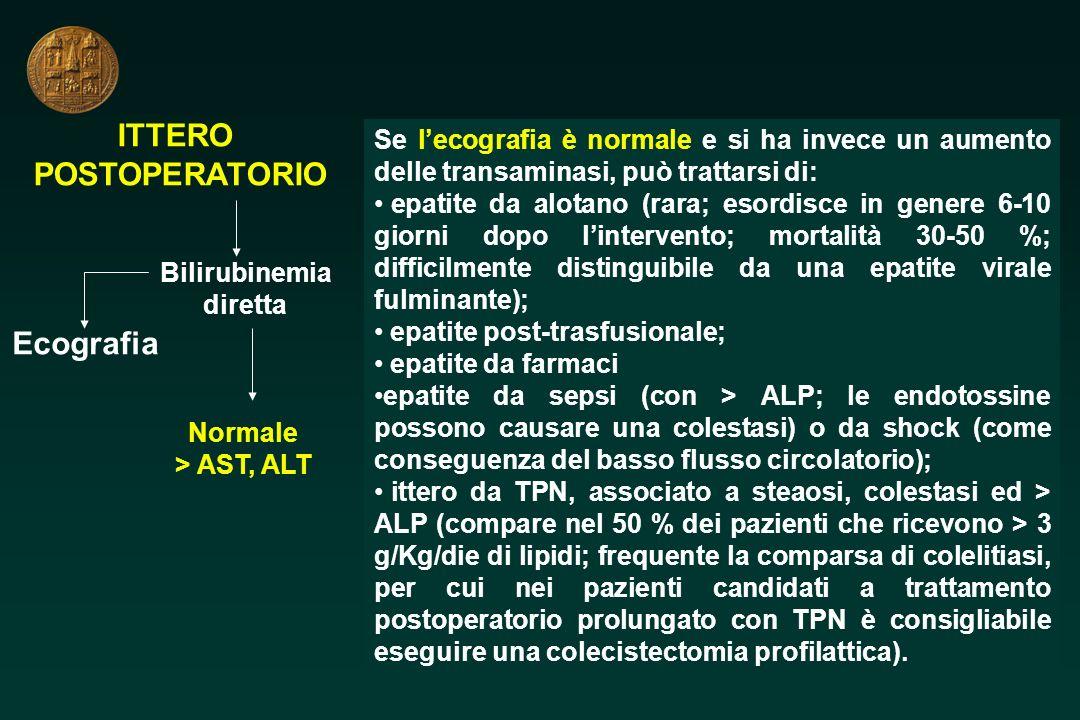 ITTERO POSTOPERATORIO Bilirubinemia diretta Ecografia Normale > AST, ALT Se lecografia è normale e si ha invece un aumento delle transaminasi, può tra