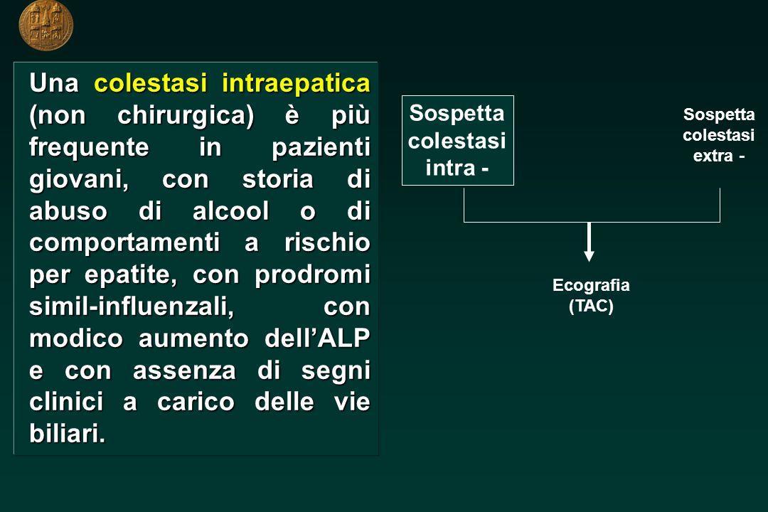 Una colestasi extraepatica (chirurgica) è più frequente in pazienti > 60 anni, con dolore alladdome superiore, colecisti palpabile, febbre con brivido e con notevole aumento dellALP.