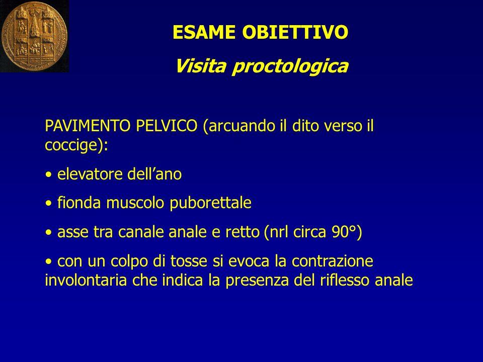 ESAME OBIETTIVO Visita proctologica PAVIMENTO PELVICO (arcuando il dito verso il coccige): elevatore dellano fionda muscolo puborettale asse tra canal