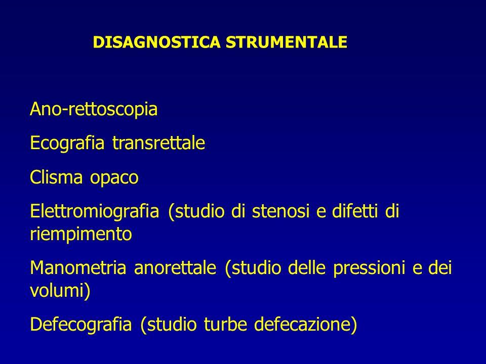 DISAGNOSTICA STRUMENTALE Ano-rettoscopia Ecografia transrettale Clisma opaco Elettromiografia (studio di stenosi e difetti di riempimento Manometria a