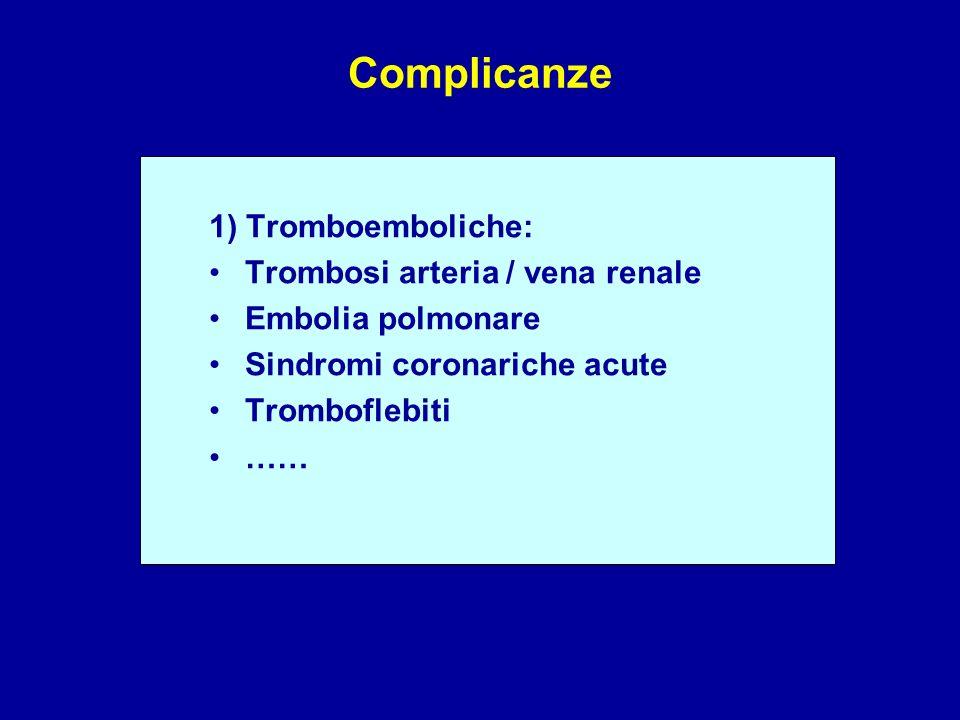 Complicanze 1) Tromboemboliche: Trombosi arteria / vena renale Embolia polmonare Sindromi coronariche acute Tromboflebiti ……