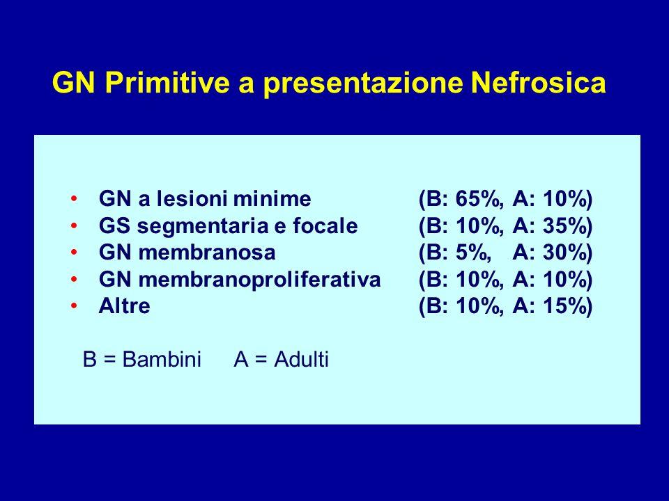 GN Primitive a presentazione Nefrosica GN a lesioni minime (B: 65%, A: 10%) GS segmentaria e focale (B: 10%, A: 35%) GN membranosa (B: 5%, A: 30%) GN