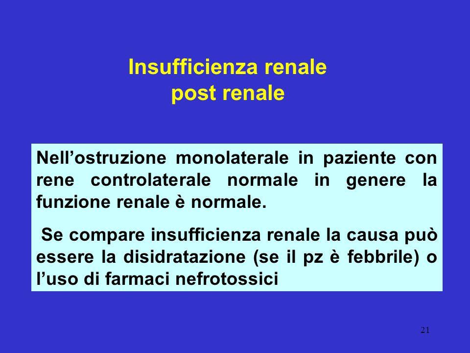 21 Insufficienza renale post renale Nellostruzione monolaterale in paziente con rene controlaterale normale in genere la funzione renale è normale. Se