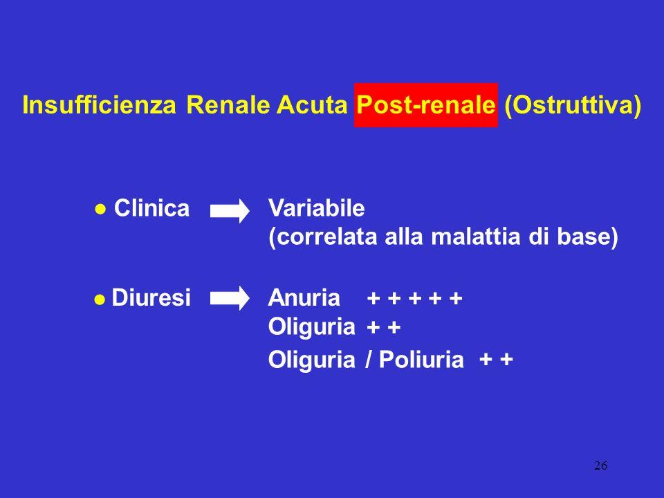26 Insufficienza Renale Acuta Post-renale (Ostruttiva) ClinicaVariabile (correlata alla malattia di base) DiuresiAnuria Oliguria Oliguria / Poliuria +