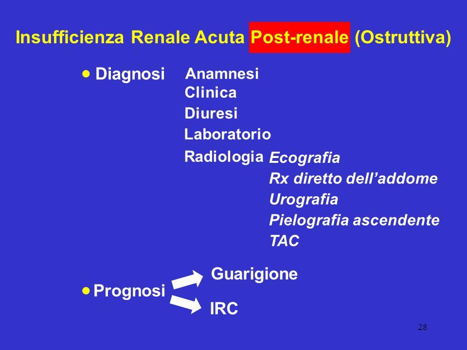 28 Insufficienza Renale Acuta Post-renale (Ostruttiva) Clinica Diuresi Diagnosi Anamnesi Laboratorio Radiologia Ecografia Rx diretto delladdome Urogra