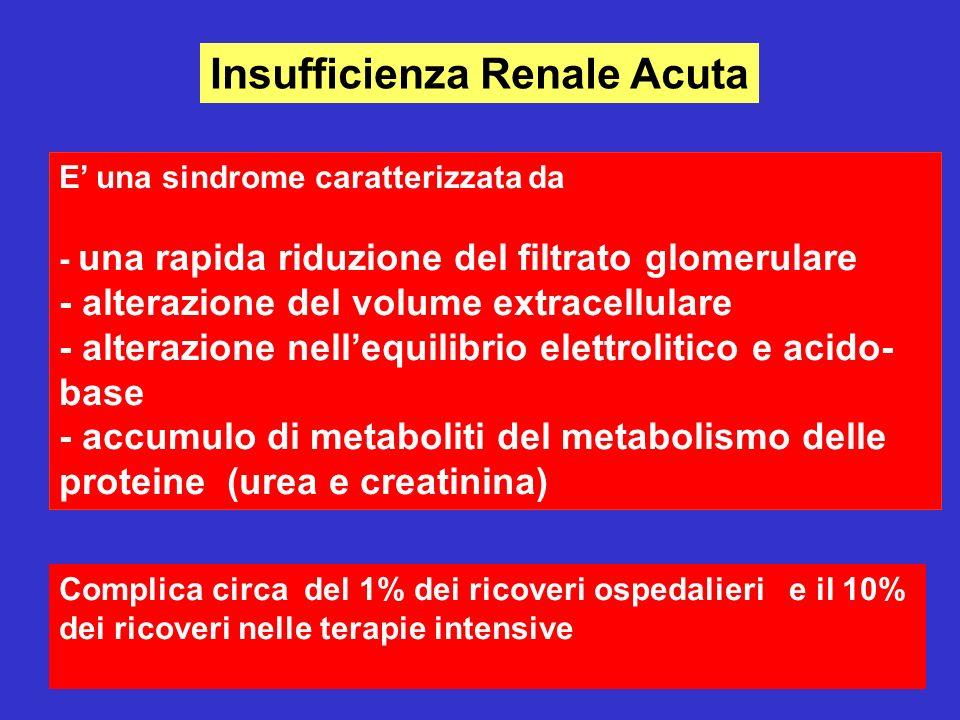 4 Insufficienza Renale Acuta E una sindrome caratterizzata da - una rapida riduzione del filtrato glomerulare - alterazione del volume extracellulare