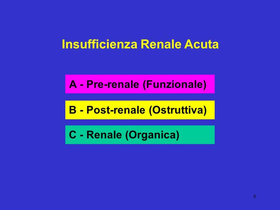 17 Insufficienza Renale Acuta Pre-renale (Funzionale) Diagnosi Anamnesi Clinica Laboratorio (Peso Specifico) Prognosi Guarigione Evoluzione in IRA organica o renale Guarigione IRC Terapia Restituzione
