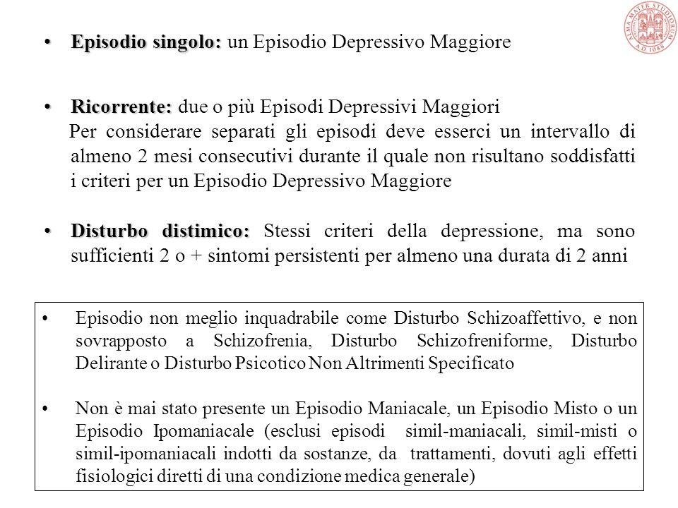 CLASSIFICAZIONE DEI DISTURBI DELLUMORE Disturbi Depressivi:. Disturbo Depressivo Maggiore (episodio singolo). Disturbo Depressivo Maggiore (ricorrente