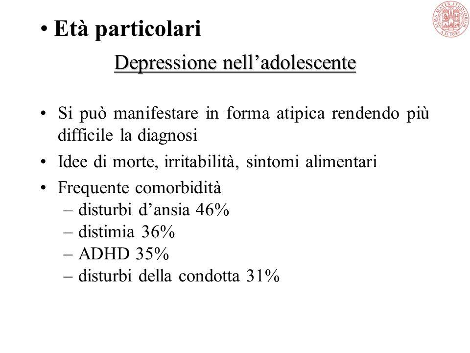 Comorbidità RISCHIO DI COMORBIDITÀ IN PZ CON DEPRESSIONE MAGGIORE Kessler, 1995 Mania 16.9 Distimia 12.8 Panico 12.7 OCD 6.4 Fobia 3.5 Droghe 3.5 Alco