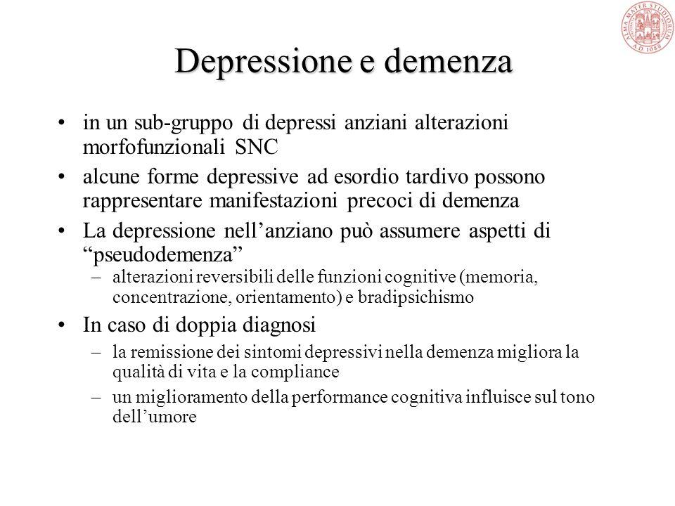 La prevalenza della depressione nellanziano è paragonabile a quella dei pazienti più giovani. Mentre nei giovani i fattori di rischio sono prevalentem