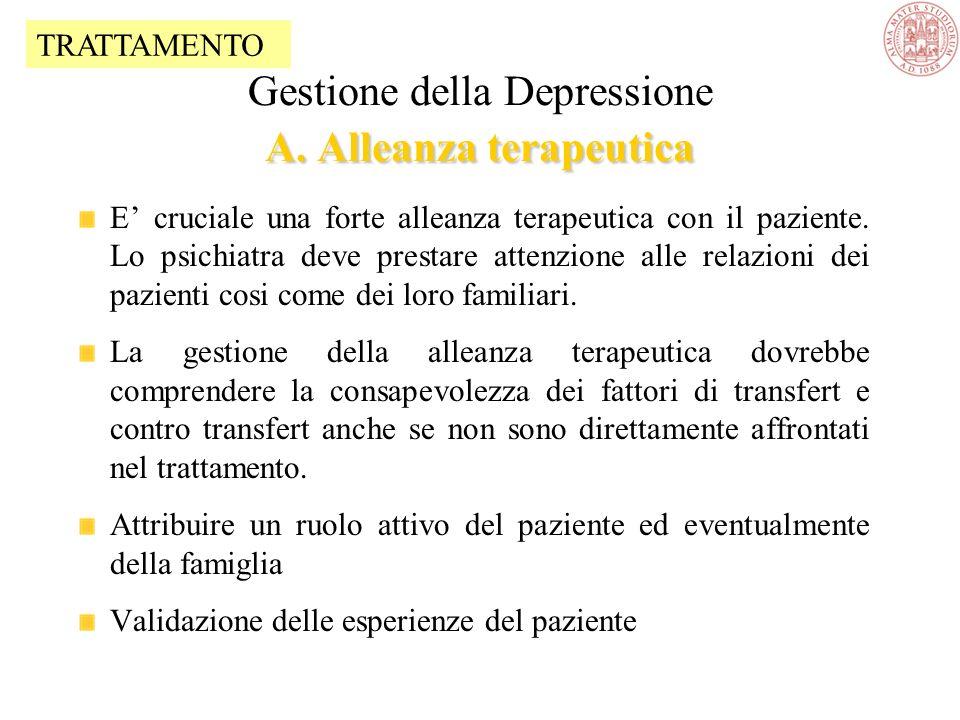 Gestione della Depressione A.Alleanza terapeutica B.Informazione e Counselling C.Trattamento con farmaci antidepressivi D.Psicoterapia E.Supporto alla