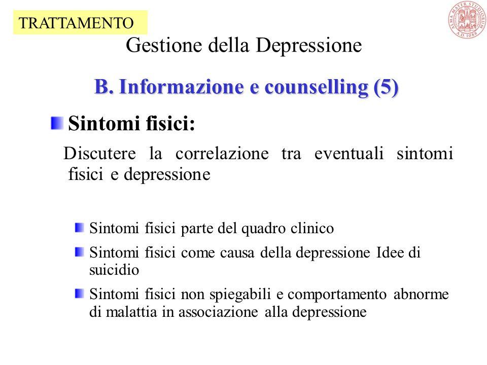 Suicidio: vigilanza contro lemergenza di impulsi distruttivi contro se e gli altri –Conflitti –Uso di sostanze –Idee di suicidio –Anamnesi di impulsiv