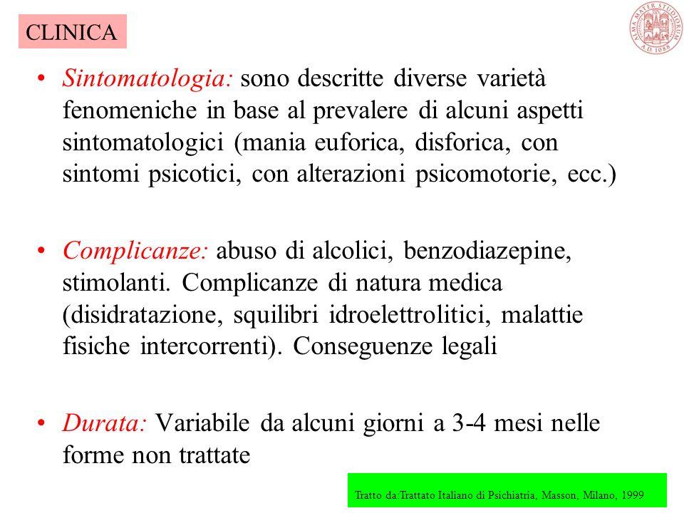 Esordio Brusco: rapido sviluppo del quadro clinico completo; più frequente quando lepisodio è precipitato da eventi stressanti o uso di sostanze stimo