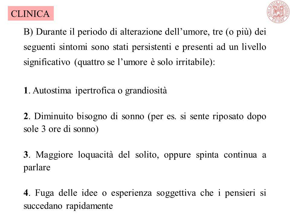 IPOMANIA- DSM-IV (1994) A) Un periodo definito di umore anormalmente e persistentemente elevato, espansivo o irritabile, che dura ininterrottamente pe