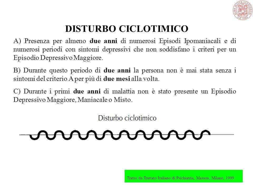 DISTURBO BIPOLARE II A) Presenza (anche in anamnesi) di uno o più Episodi Depressivi Maggiori. B) Presenza (anche in anamnesi) di almeno un Episodio I