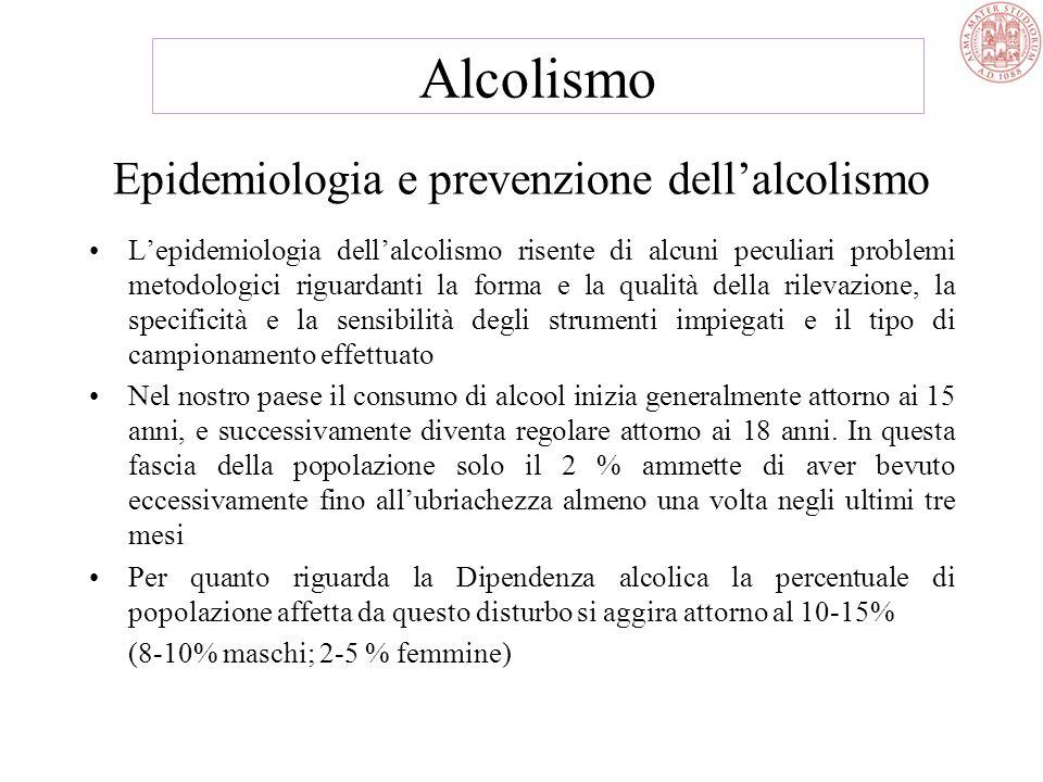Cenni storici (2) Da allora si sono alternate concezioni contrapposte rigidamente, ora medico biologiche, che riducevano lalcolismo ad una patologia d