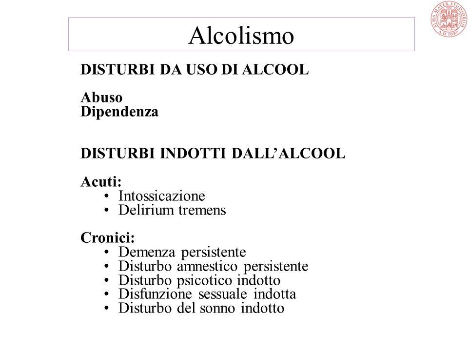 Uso di alcool Abuso di alcool Dipendenza alcolica Individuo - genetica - personalità - famiglia - lavoro - abitudini Ambiente - cultura - religione -
