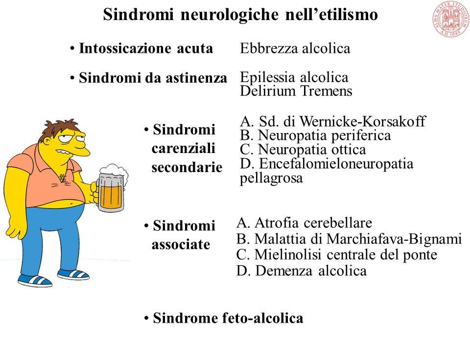 Disturbi neurologici Disturbi dellapparato gastrointestinale Disturbi epatici Disturbi pancreatici PIU FREQUENTI DISTURBI SOMATICI DA ABUSO DI ALCOOL