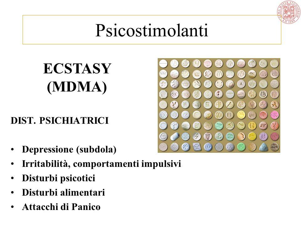 ECSTASY (MDMA) EFFETTI PSICOLOGICI Eccitamento / effetti psichedelici Euforia, fiducia, spensieratezza Affabilità, felicità, accondiscendenza Apertura