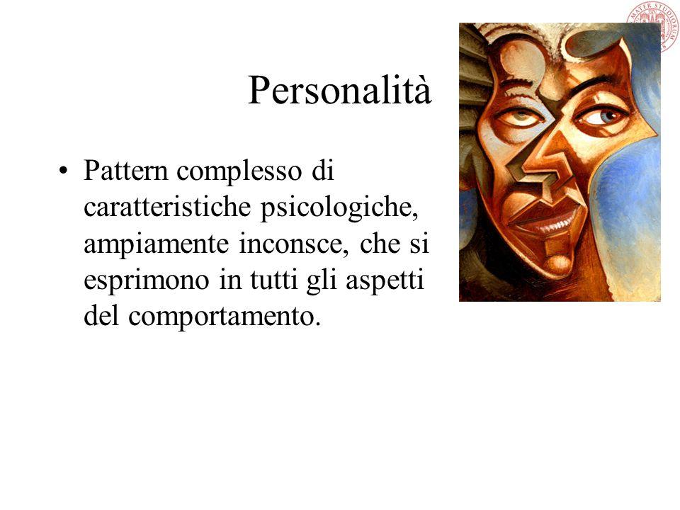 Personalità Il significato è cambiato da illusione esterna a apparenza a tratti interni distintivi della persona Dal termine greco personé (maschera u