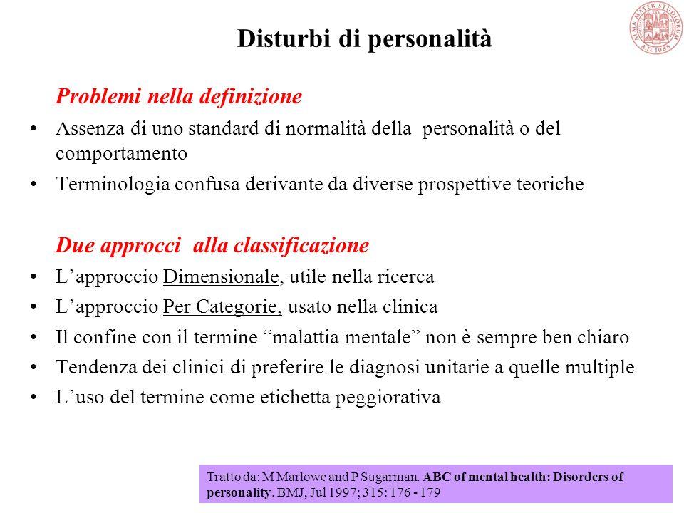 Disturbi di personalità I disturbi di personalità sono associati con modi di pensare, percepire e rispondere emotivamente che differiscono sostanzialm