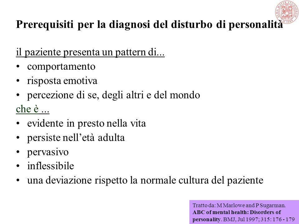 Disturbi di personalità Problemi nella definizione Assenza di uno standard di normalità della personalità o del comportamento Terminologia confusa der