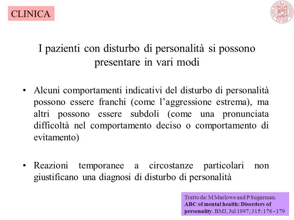 La classificazione dei Disturbi di Personalità DSMIV Disturbi caratterizzati da una forte ansietà: EVITANTEEVITANTE: quadro di personalità in cui domi
