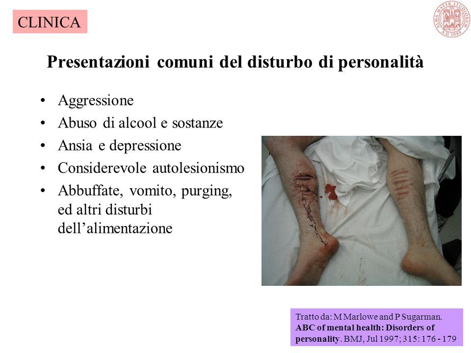 I pazienti con disturbo di personalità si possono presentare in vari modi Alcuni comportamenti indicativi del disturbo di personalità possono essere f