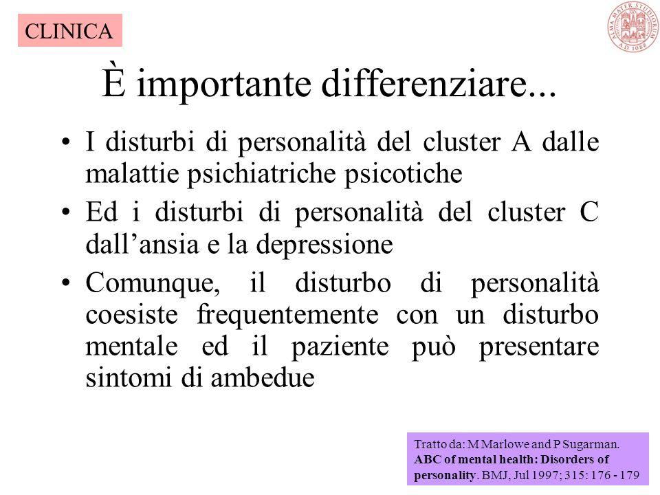 Presentazioni comuni del disturbo di personalità Aggressione Abuso di alcool e sostanze Ansia e depressione Considerevole autolesionismo Abbuffate, vo