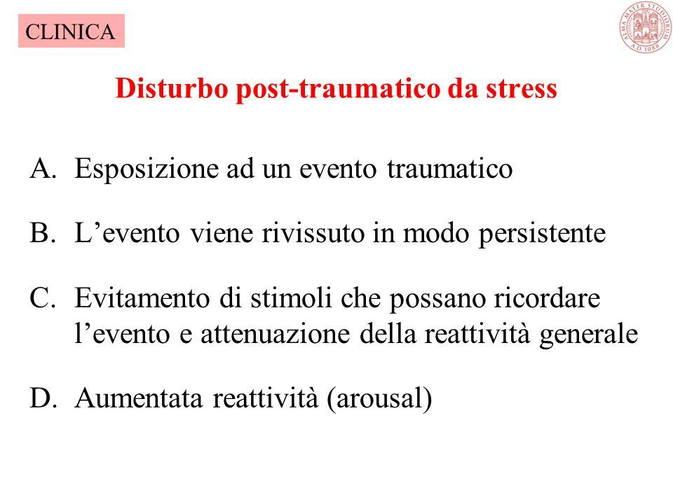 Disturbo Post-traumatico da stress (PTSD) Diagnosi Stress di estrema gravità Torpore emotivo, inizialmente distacco emotivo Intrusivi flash-backs, ric