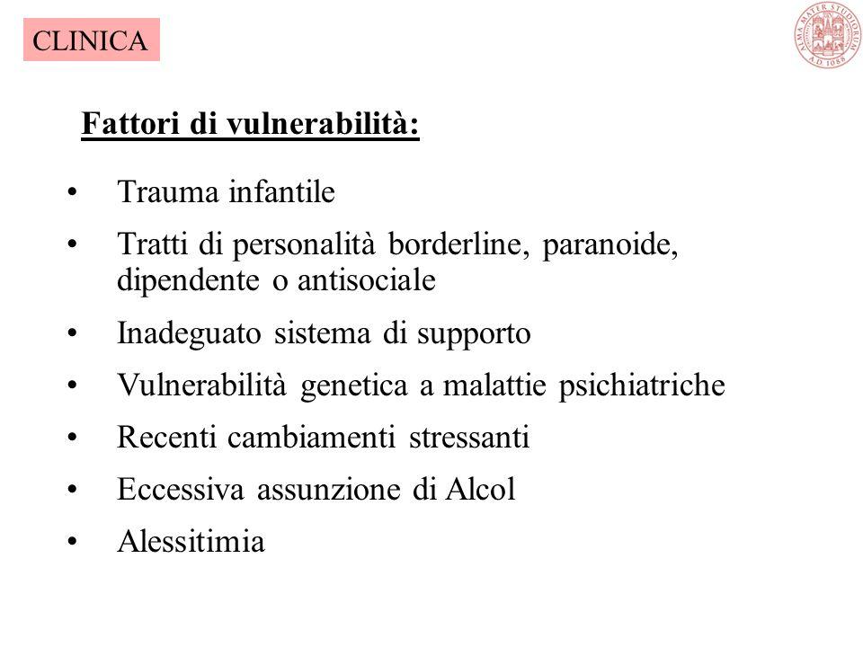 A.Esposizione ad un evento traumatico B.Levento viene rivissuto in modo persistente C.Evitamento di stimoli che possano ricordare levento e attenuazio