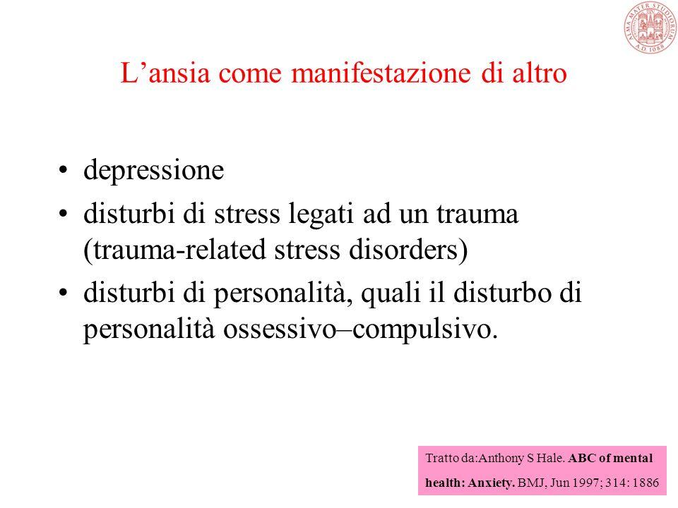 Gestione del paziente ansioso Rassicurazione Farmaci: antidepressivi, sedativi Psicoterapia TRATTAMENTO