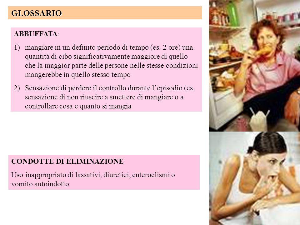 Definizione di un eating disorder Esistenza di una marcata distorsione delle abitudini alimentari del soggetto o di un comportamento anomalo finalizza