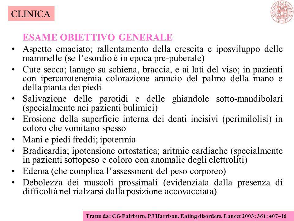 Caratteristiche principali dell anoressia nervosa Sintomi fisici Iper-sensibilità al freddo Sintomi gastrointestinalistitichezza, ripienezza post-pran