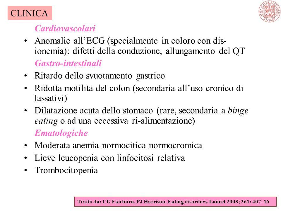 Anomalie specifiche per apparato Endocrine Ridotte concentrazioni di LH, FSH ed estradiolo Valori di T3, T4 ai limiti inferiori della norma in presenz