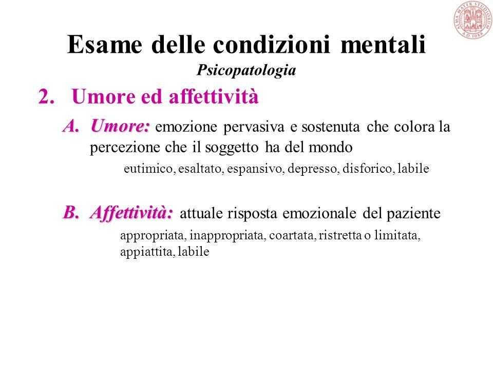 Esame delle condizioni mentali Psicopatologia 1.Descrizione generale 2.Umore ed affettività 3.Linguaggio 4.Sensopercezione 5.Pensiero 6.Coscienza e ca