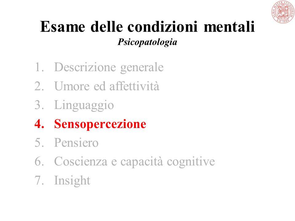 Esame delle condizioni mentali Psicopatologia 3.Linguaggio –quantità logorrea, povertà di linguaggio/espressiva, mutismo –velocità accelerazione –tono