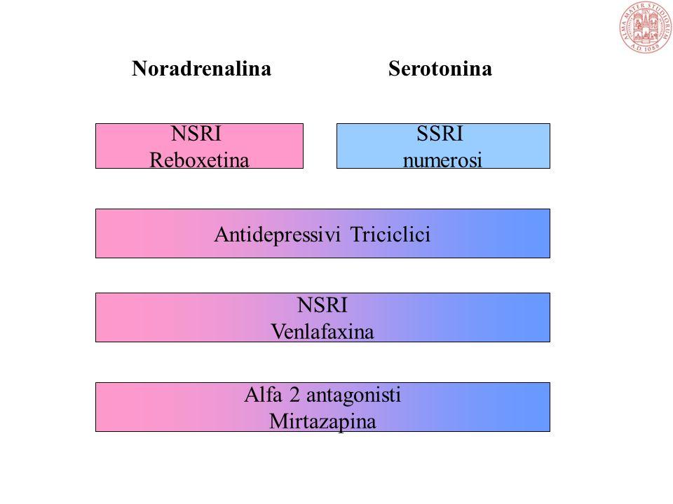 Farmaci antidepressivi SSRI –inibitori della ricaptazione di serotonina Antidepressivi triciclici –Inibitori della ricaptazione di serotonina e noradr