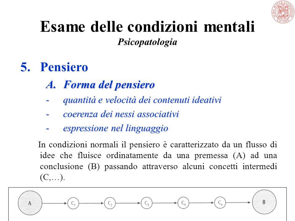 Esame delle condizioni mentali Psicopatologia 5.Pensiero Racchiude le facoltà più superiori e la capacità critica per cui una persona è in grado di: –