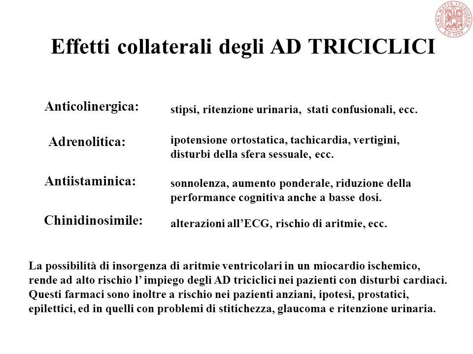 Antidepressivi Triciclici Efficacia elevata Possono risolvere forme che non rispondono ad altri trattamenti Effetti collaterali cardio-circolatori ant