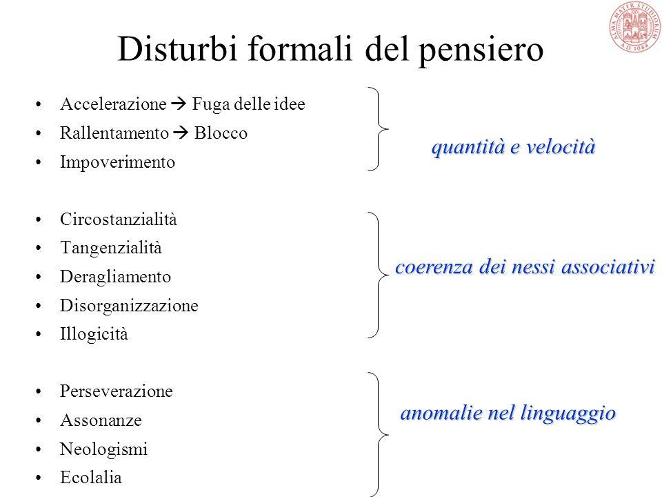Esame delle condizioni mentali Psicopatologia 5.Pensiero A.Forma del pensiero -quantità e velocità dei contenuti ideativi -coerenza dei nessi associat