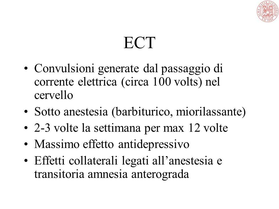 ECT In caso di depressione resistente Da effettuarsi in ambiente specialistico Notevole efficacia Scarsi effetti collaterali Problemi di accettazione