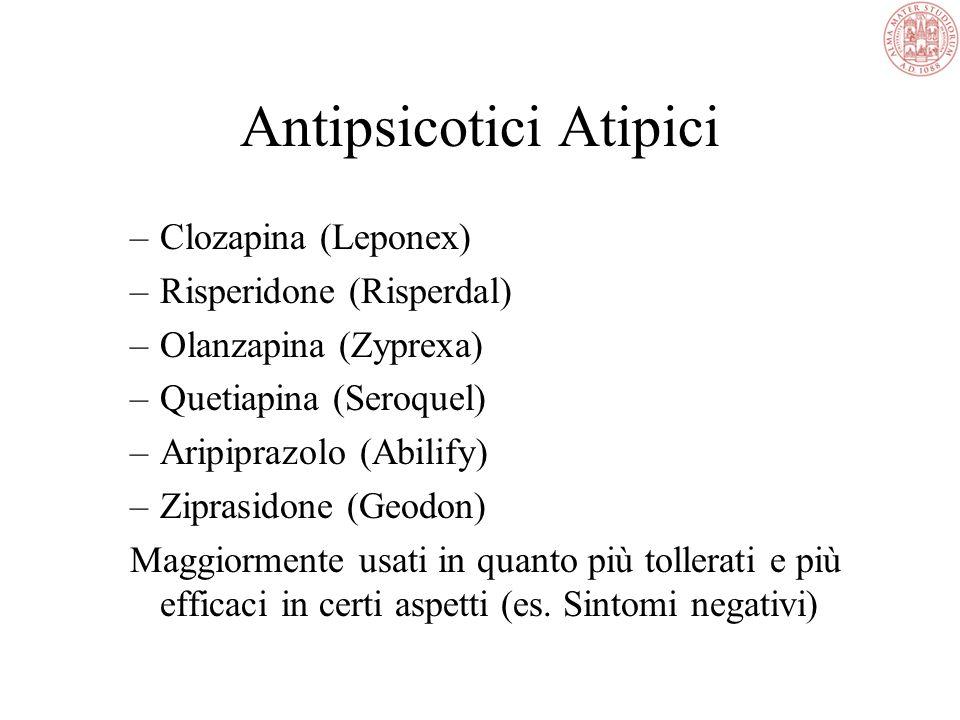 Azioni degli Antipsicotici Tipici Blocco recettori dopaminergici nel sistema mesolimbico Effetti collaterali mediati dal blocco dei recettori nigrostr