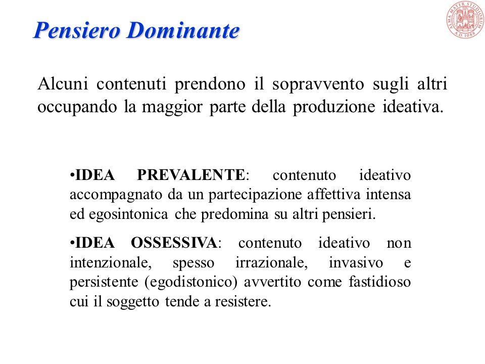 Esame delle condizioni mentali Psicopatologia 5.Pensiero B.Contenuto del pensiero -delirio -pensiero dominante -fobie