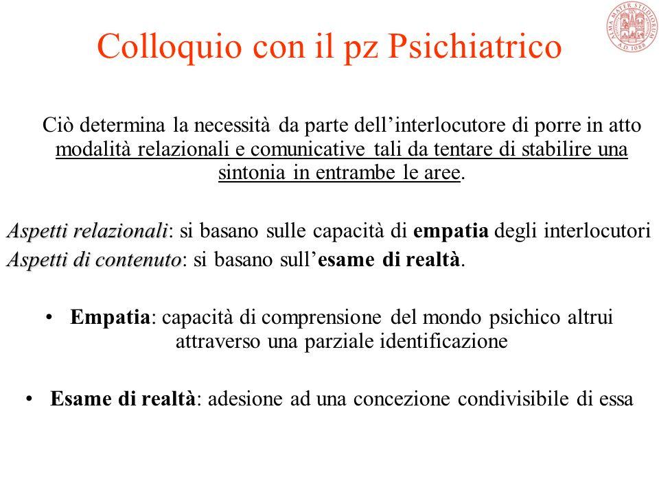 Colloquio con il pz Psichiatrico Conversazione: ruolo variabile, argomento variabile, scopo variabile Colloquio psichiatrico: ruolo definito, argoment
