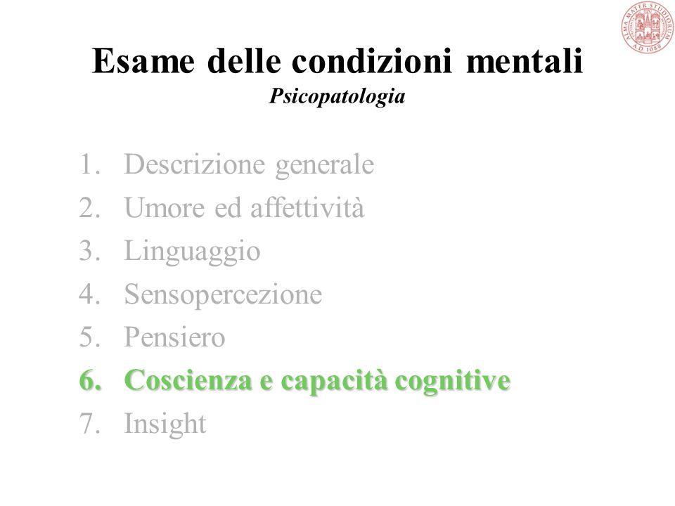 Esame delle condizioni mentali Psicopatologia 5.Pensiero B.Contenuto del pensiero -delirio -pensiero dominante -fobia