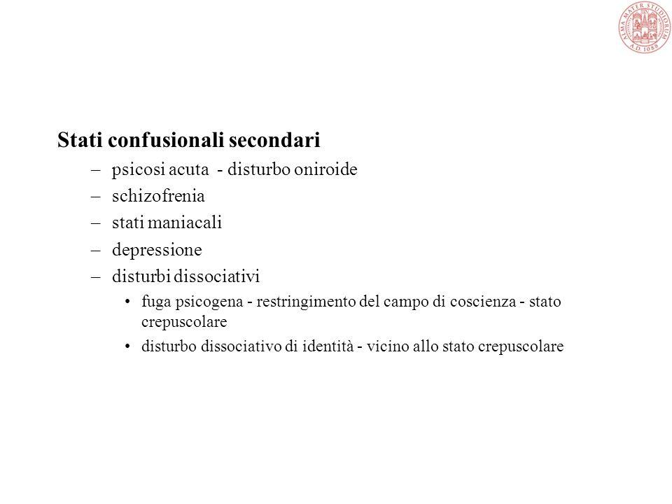Quadri clinici Delirium = stato confusionale acuto a rapida insorgenza transitorio, con andamento fluttuante, caratterizzato da –ridotte capacità atte